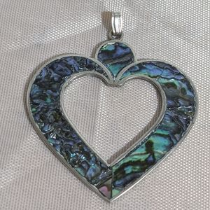 Vintage 80's Sterling Silver & Blue Abalone Heart